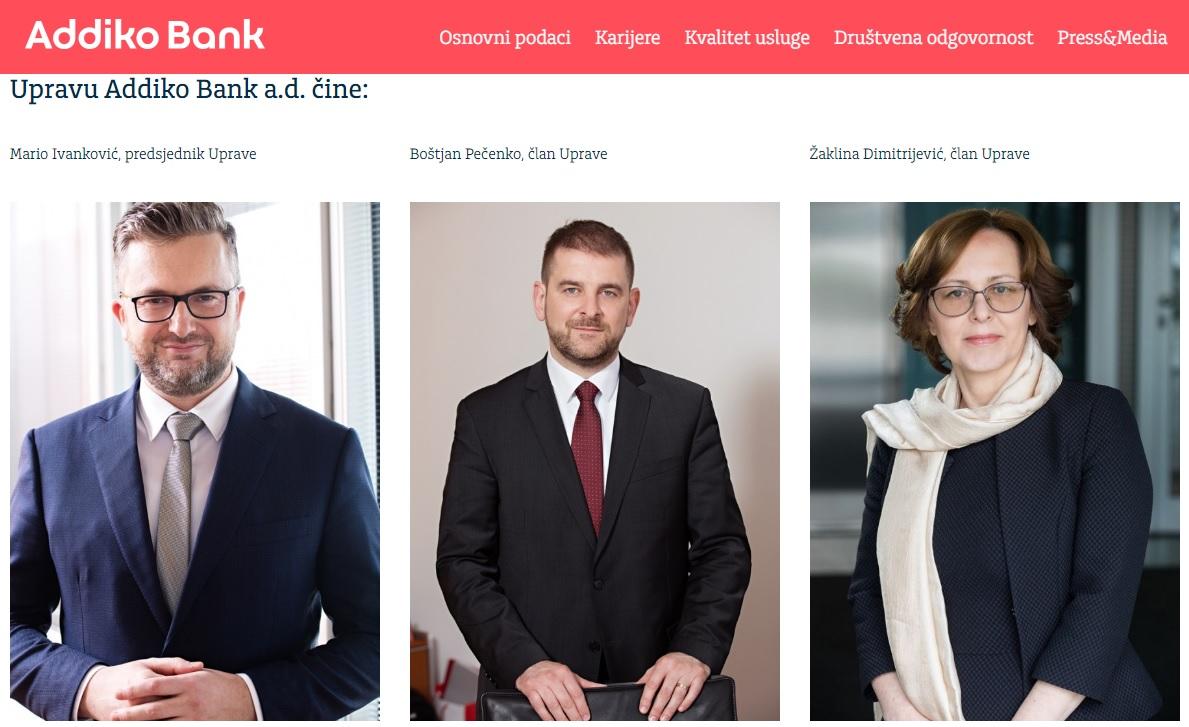 Rukovodstvo današnje Addiko banke Banjaluka